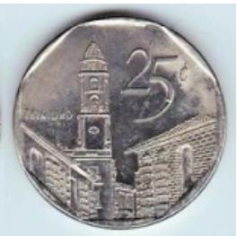 Moneta da 25 centesimi di CUC con scorcio di Trinidad